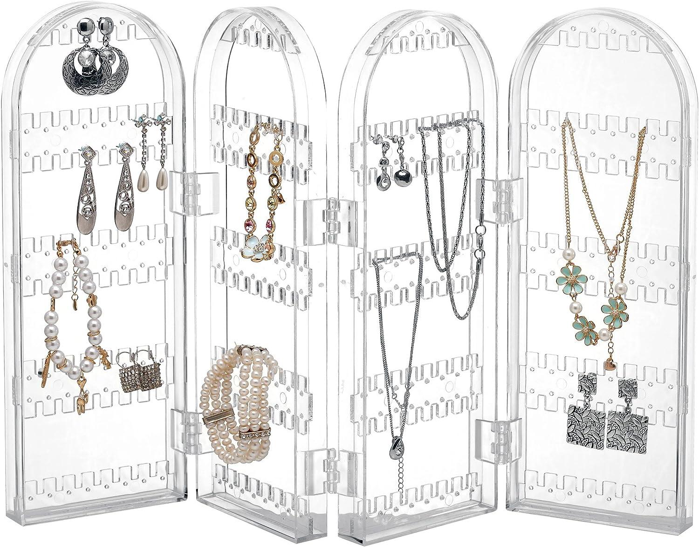 Beautify Organizador Joyas Plegable Acrílico Transparente Gabinete Colgador de Collar Plegable Soporte de exhibición de joyería Soporte para Anillo Almacena 260 Pendientes