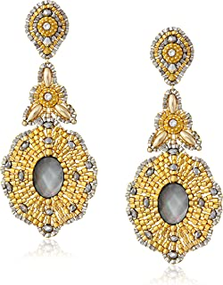 product image for Miguel Ases Long Golden Drop with Mother-Of-Pearl Center Earrings