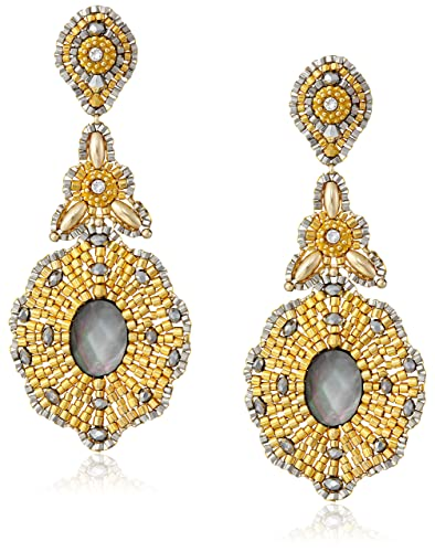 Miguel Ases Long Golden Drop with Mother-Of-Pearl Center Earrings