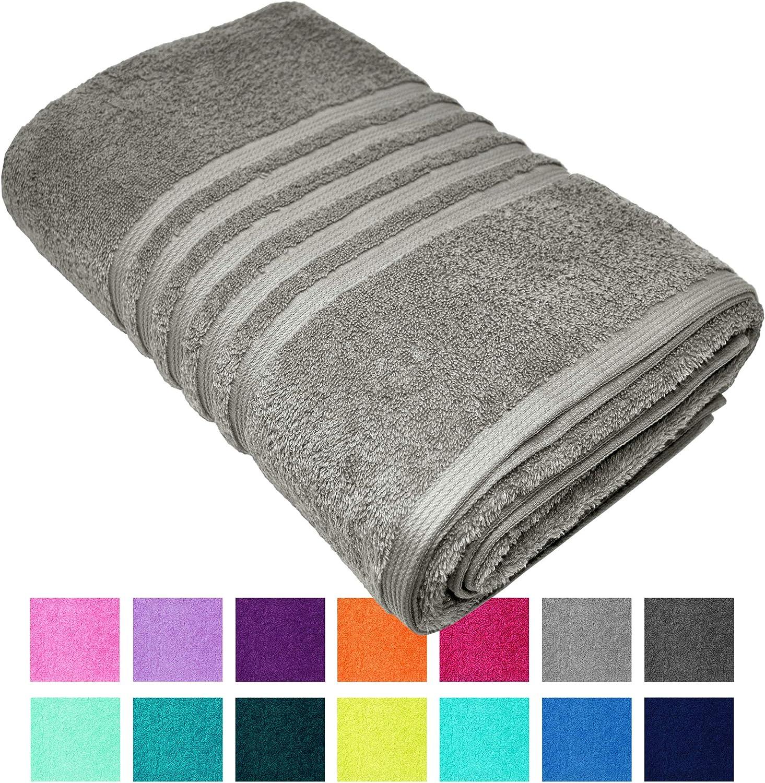 Lashuma - Toalla de baño o playa XXL London en 14 colores, color liso, tamaño grande de 100 x 150 cm, 100 % algodón, Piedra gris., 100 x 150 cm: Amazon.es: Hogar