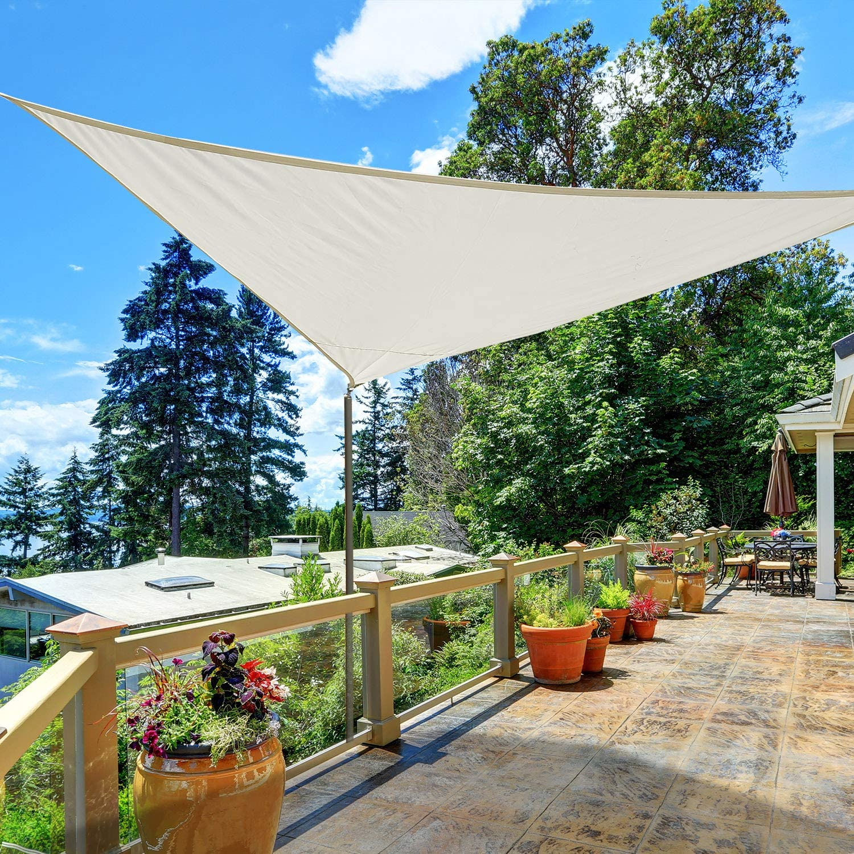 Outsunny Triangle 13x13x13ft Sun Sail Shade Garden UV Block Sunshade Outdoor Canopy Patio Lawn Shelter Cream White
