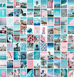 Blue Aesthetic Wall Collage Kit, 100 Set 4x6 inch, Pink VSCO Room Decor for Teen Girls, Summer Beach Wall Art Print, Dorm Photo Collection, Small Posters for Room Aesthetic…
