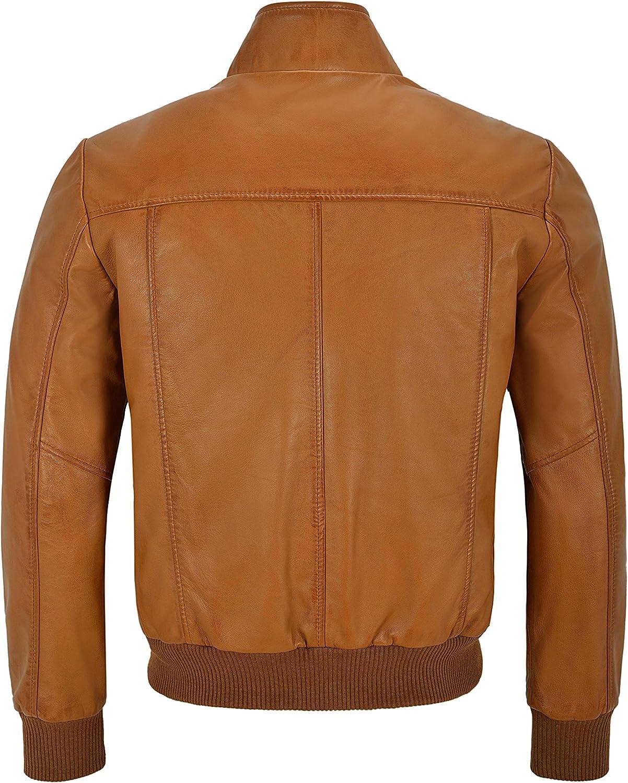 Ayesha Mens Leather Jackets Motorcycle Bomber Biker Genuine Lambskin 113