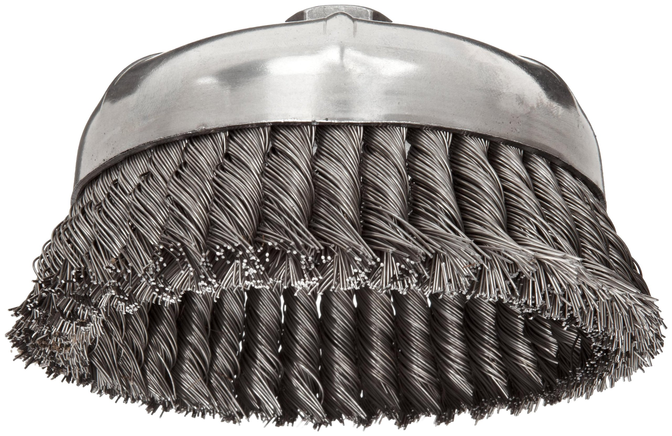 Weiler Wire Cup Brush, Threaded Hole, Steel, Partial Twist Knotted, Single Row, 6'' Diameter, 0.023'' Wire Diameter, 5/8''-11 Arbor, 1-3/8'' Bristle Length, 6600 rpm (Pack of 1) by Weiler