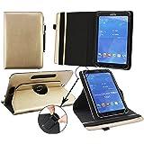 Emartbuy® Acer Iconia Talk 7 B1-732 Tablet 7 Zoll Universal ( 7 - 8 Zoll ) Metallic Gold Premium PU Leder 360GradrotierendeStandFolioGeldbörseTascheHülle + Schwarz Eingabestift