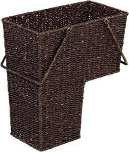 "Trademark Innovations 14"" Wicker Storage Stair Basket with Handles (Brown)"
