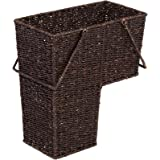 """14"""" Wicker Storage Stair Basket With Handles by Trademark Innovations (Brown)"""