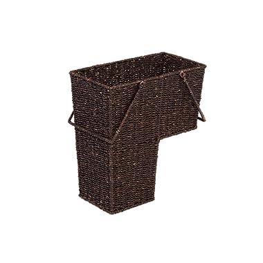 Trademark Innovations 14  Wicker Storage Stair Basket with Handles (Brown)