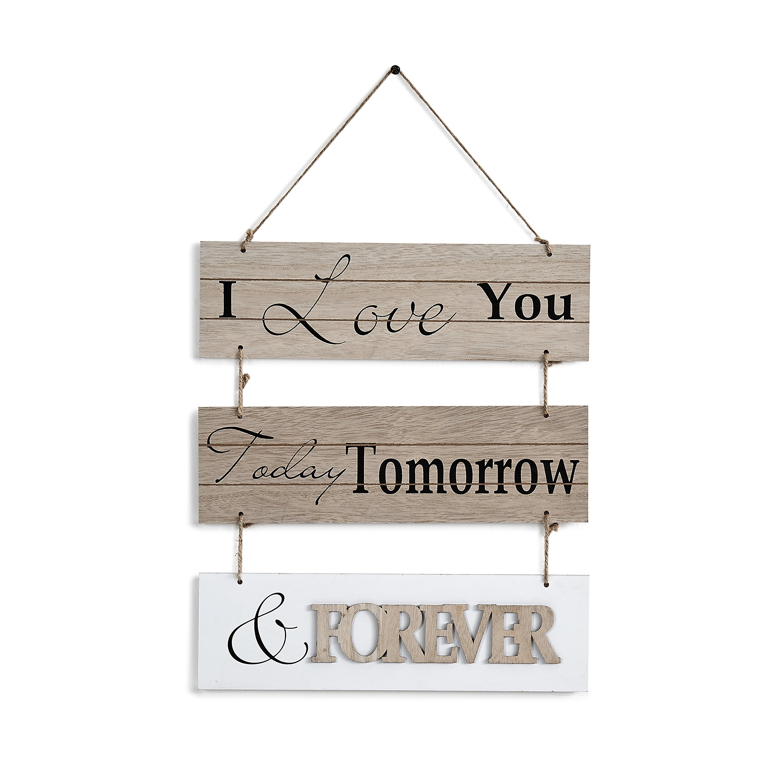"Danya B. ""I Love You Today, Tomorrow, Forever"" Sectioned Wooden Wall Plaque"