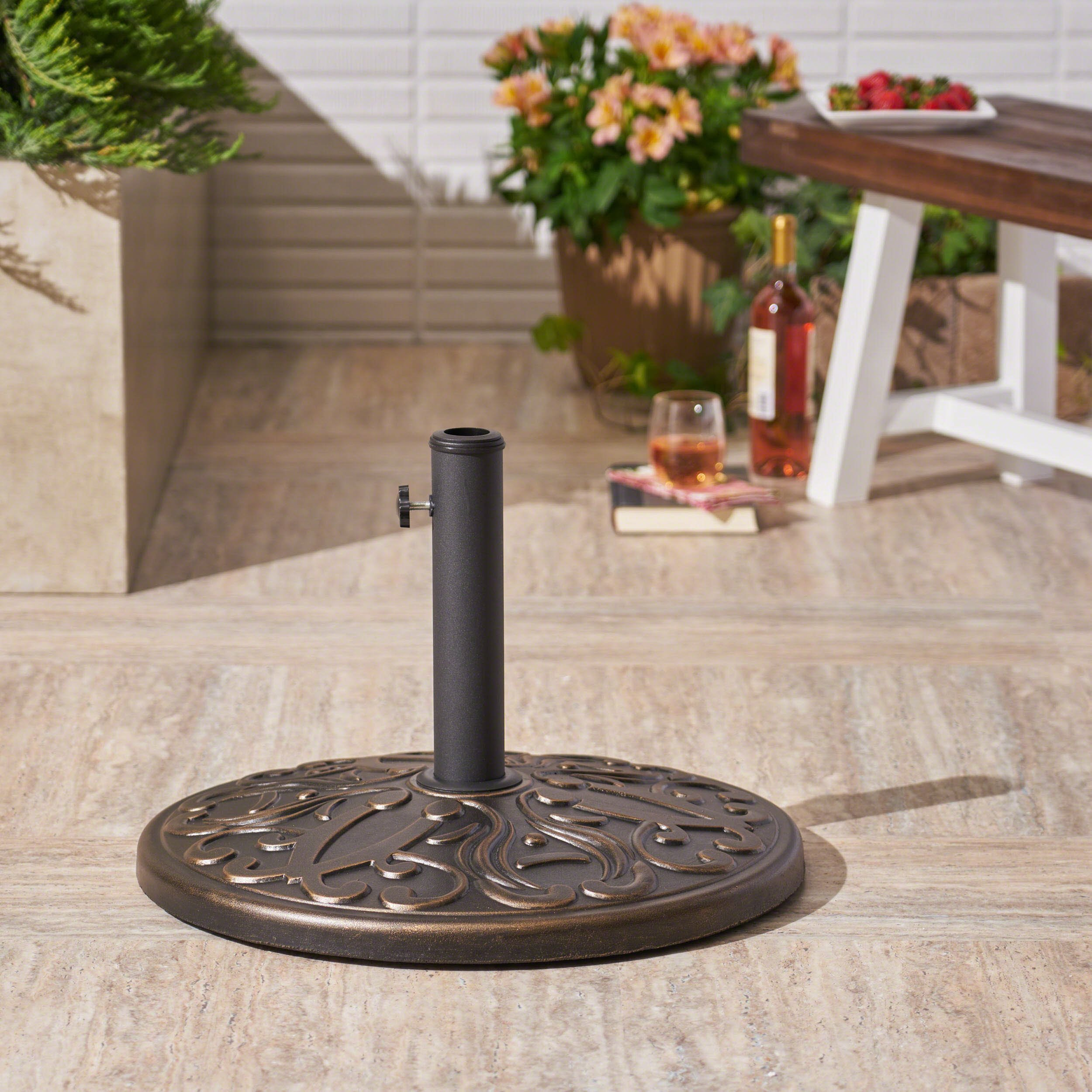Great Deal Furniture | Irene | Outdoor Concrete Circular Umbrella Base | 60LBS | in Hammered Dark Copper