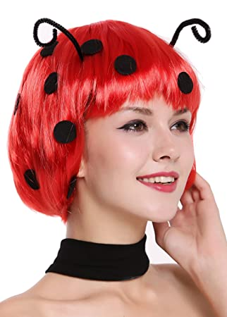 WIG ME UP ® - 91574-ZA13 Peluca Mujer Carnaval Halloween Muy Lindo Mariquita Bob