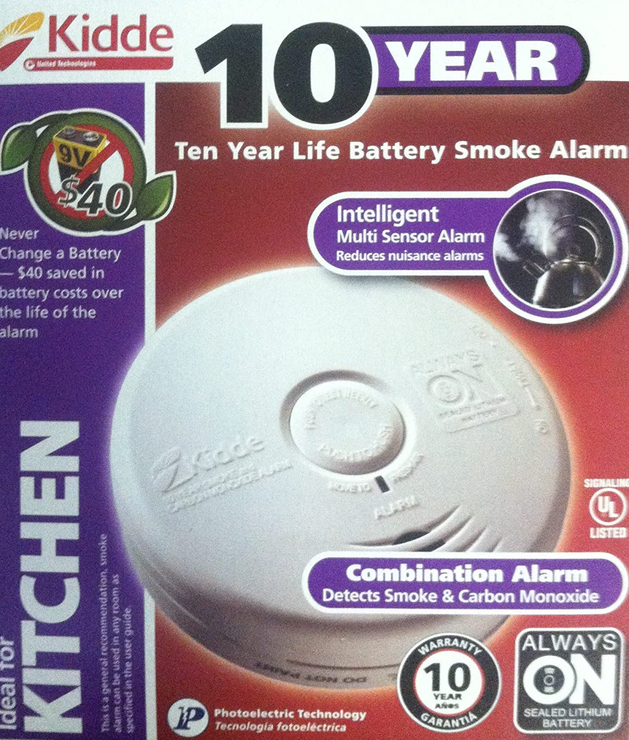 Kidde P3010 K CO Battery Operated Combination Carbon Monoxide and Smoke Alarm with Photoelectric Sensor New Modal 2 Pack