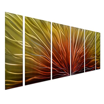 Amazon.com: Pure Art Stunning Abstract Aluminum Metal Wall Art, Set ...