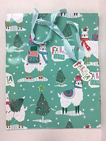 Llama Christmas.Amazon Com Fa La La Llama Christmas Medium Gift Bag Health