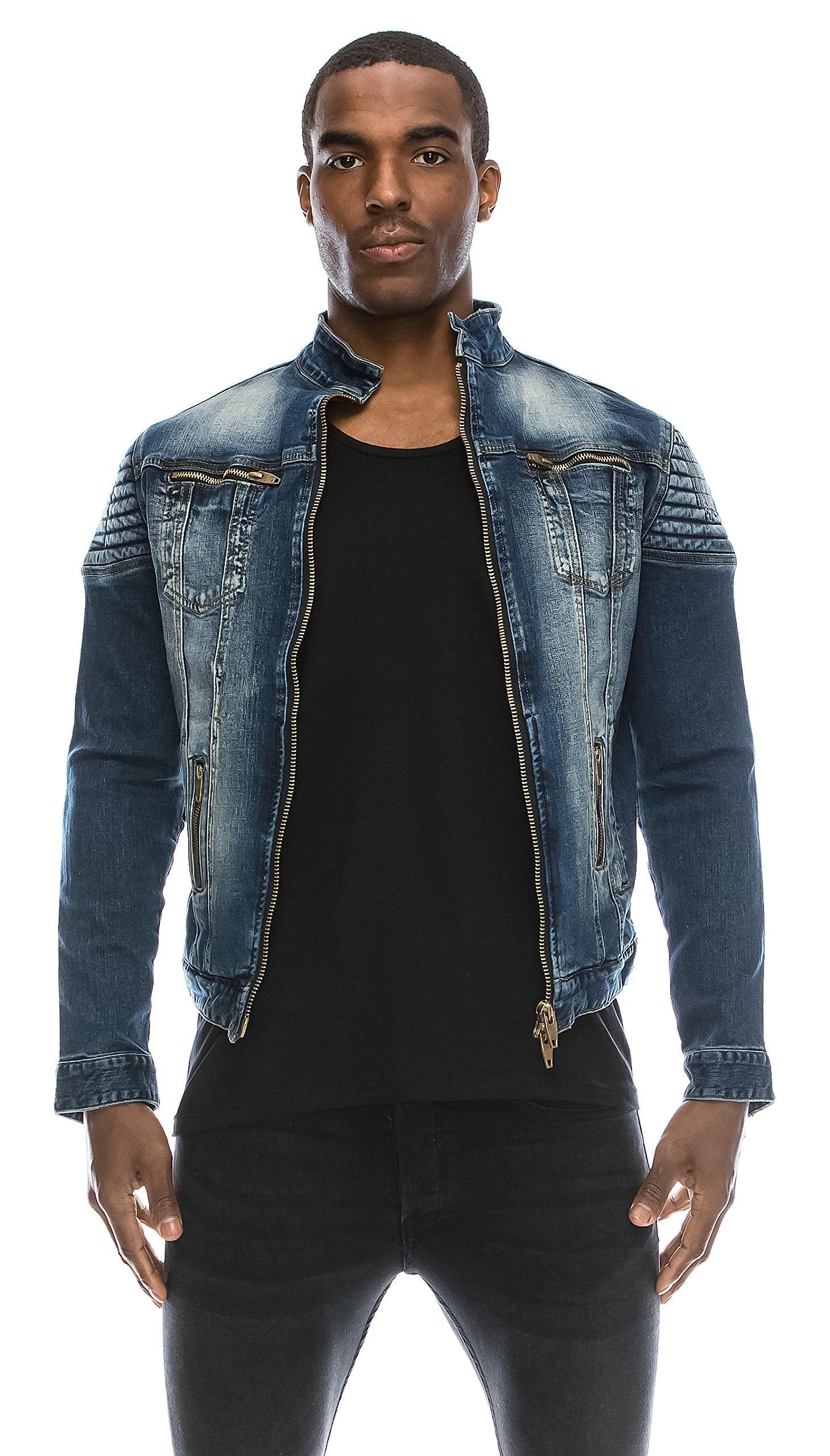 Angel Cola Men's Biker Slim Fitted Distressed Washed Denim Jacket Blue L by Angel Cola