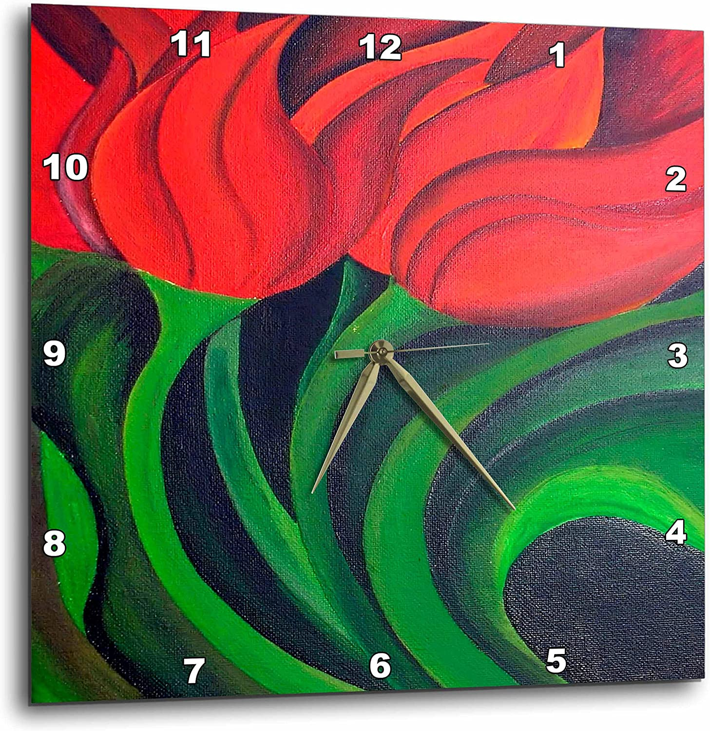 Amazon Com 3drose Llc Flowers Red Tulips 10 By 10 Inch Wall Clock Home Kitchen