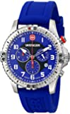 Wenger Squadron Chrono Men's Quartz Watch with Blue Dial Analogue Display and Blue Silicone Strap 77057