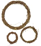 Grapevine Wreath Set – 3-Piece Vine Branch Wreath, Decorative Wooden Twig for Craft, Décor, Door, House, Holiday – 3 Sizes, Large, Medium, Small