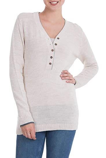 6d2128c71 Image Unavailable. Image not available for. Color  NOVICA Beige Alpaca  Blend Sweater ...