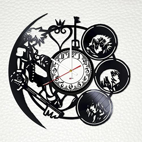 Kingdom Hearts Handmade Vinyl Record Wall Clock – Get Unique Bedroom or Kitchen Wall Decor – Gift Ideas for Boys and Girls Video Game Characters Unique Art Design