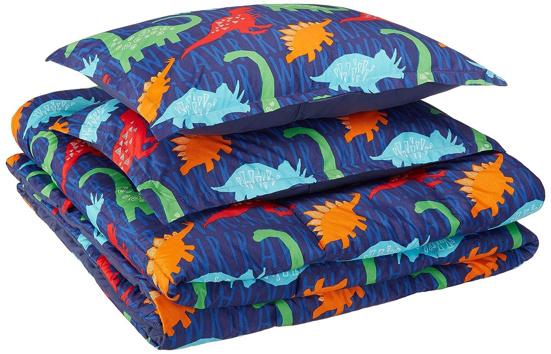 AmazonBasics Kid's Comforter Set - Soft, Easy-Wash Microfiber - Full/Queen, Multi-Color Dinosaurs