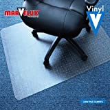 "Marvelux 30x48"" Vinyl (PVC) Rectangular Chair Mat for Carpets | Clear"