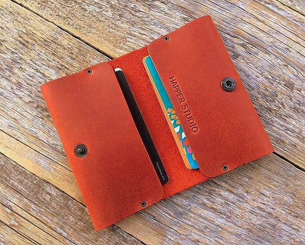 Rojo cartera de piel PERSONALIZADA. Apta para tarjeta de crédito, efectivo o carnet de