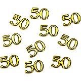 50confettis dorés - motif décoratif chiffres, pour les anniversaires