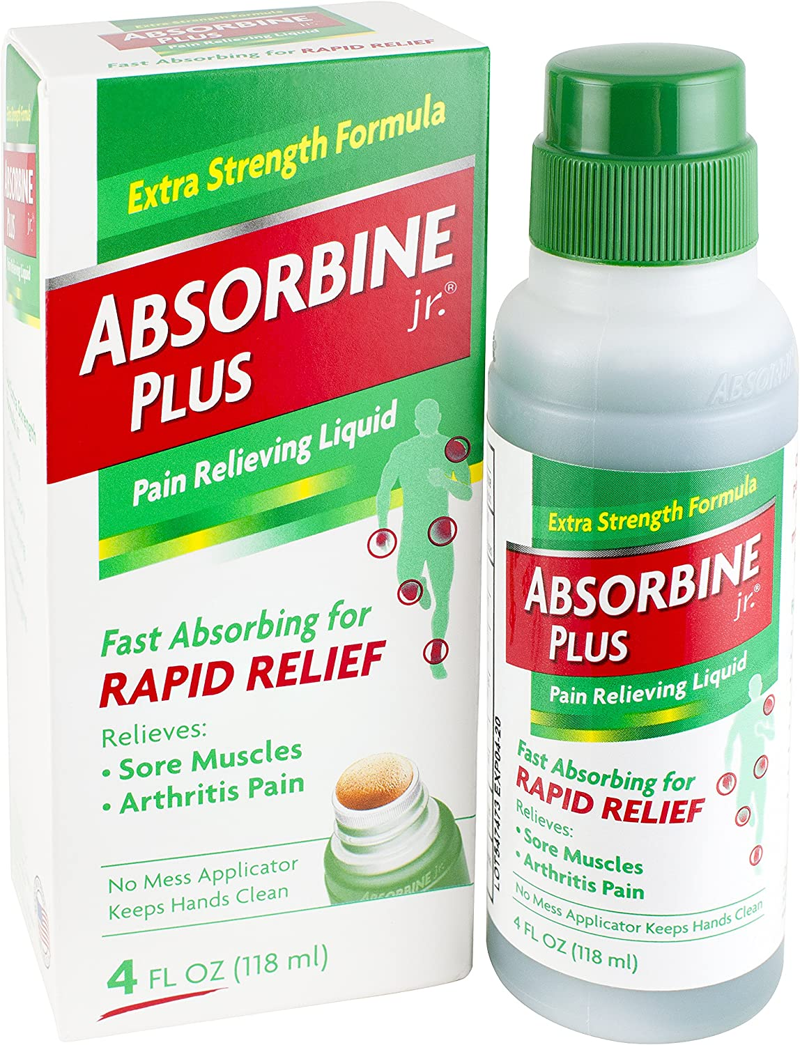 Absorbine Jr. Pain Relieving Liquid with Menthol - for Sore Muscles, Joint Aches and Arthritis Pain Relief - 4 Ounces