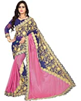 Siddeshwary Fab Women's Women's Lycra And Georgette Saree With Blouse Piece