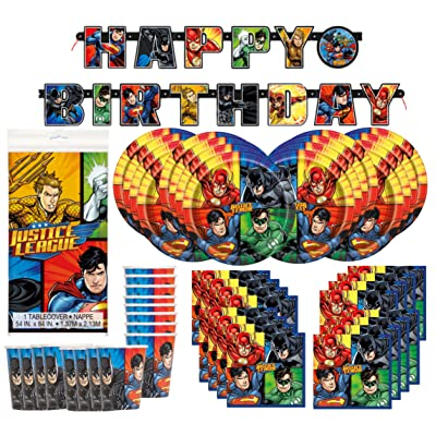 DC Comics Justice League Superheros Birthday Party Supplies Pack Bundle serves 16 ; Plates, Cups, Napkins, Banner, & Table Cover: Toys & Games