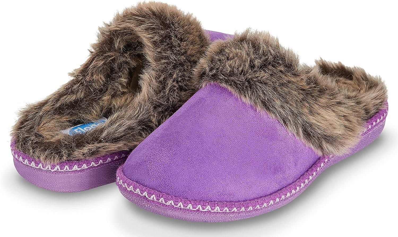Floopi Womens Indoor Outdoor Aztec Two Tone Fur Lined Clog Slipper W/Memory Foam