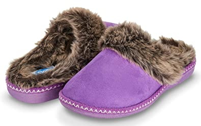 8ce43aee863 Floopi Womens Indoor Outdoor Aztec Two Tone Fur Lined Clog Slipper W Memory  Foam (