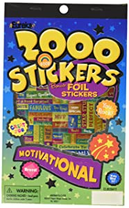 Eureka Back to School Classroom Supplies Assorted Foil Motivational Sticker Book, 2000 pcs