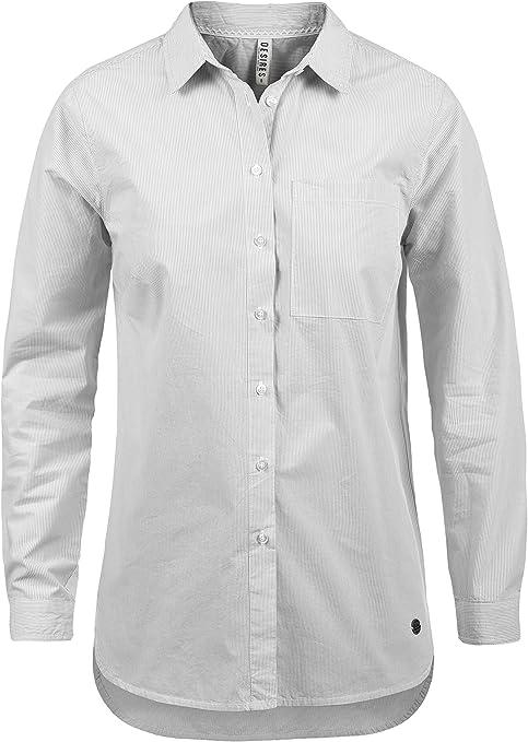 Desires Drina Blusa Camisa Mangas Largas para Mujer con Rayada De 100% Algodón Business Look Loose- Fit
