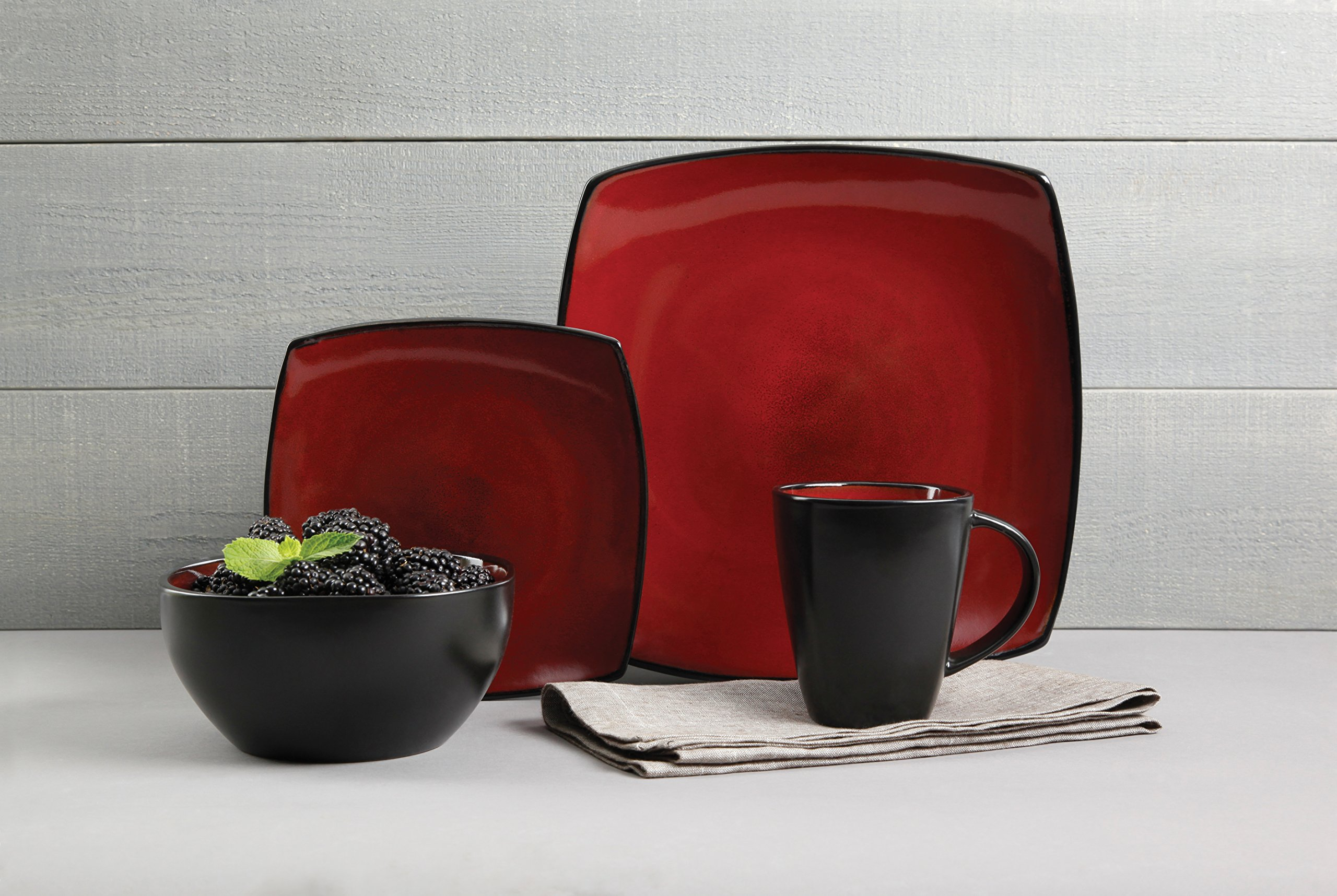 Gibson Elite 61220.16RM Soho Lounge 16-Piece Square Reactive Glaze Dinnerware Set, Red by Gibson (Image #4)