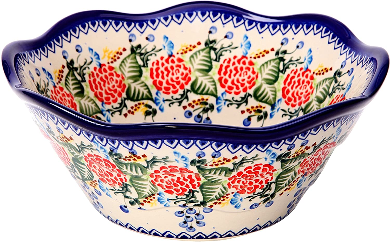 Polish Pottery Ceramika Boleslawiec 0424/280 Royal Blue Patterns with Red Rose Motif Bowl Viki 2, 6-1/2-Cup Lidia' s Polish Pottery Inc. 0424-280