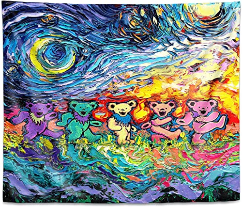 Dia Noche Tapestry Large 104 x88 Wall Art by Aja Ann Van Gogh Dancing Bears