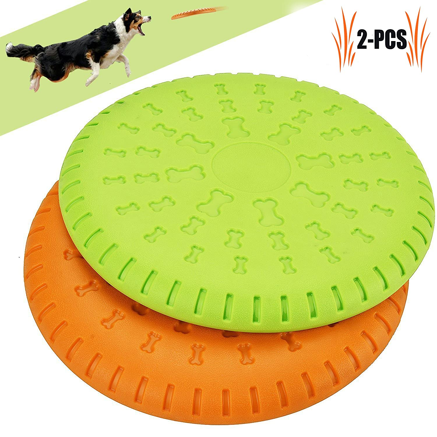 Legendog Dog Flying Disc, 2 Pcs Large Dog Flying Disc Pack Tough Rubeer Multifunction Dog Toys Strong Pet Training Toys for Medium and Large Dogs orange and Green 9 inch