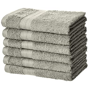 AmazonBasics Fade-Resistant Cotton Hand Towel - Pack of 6, Grey