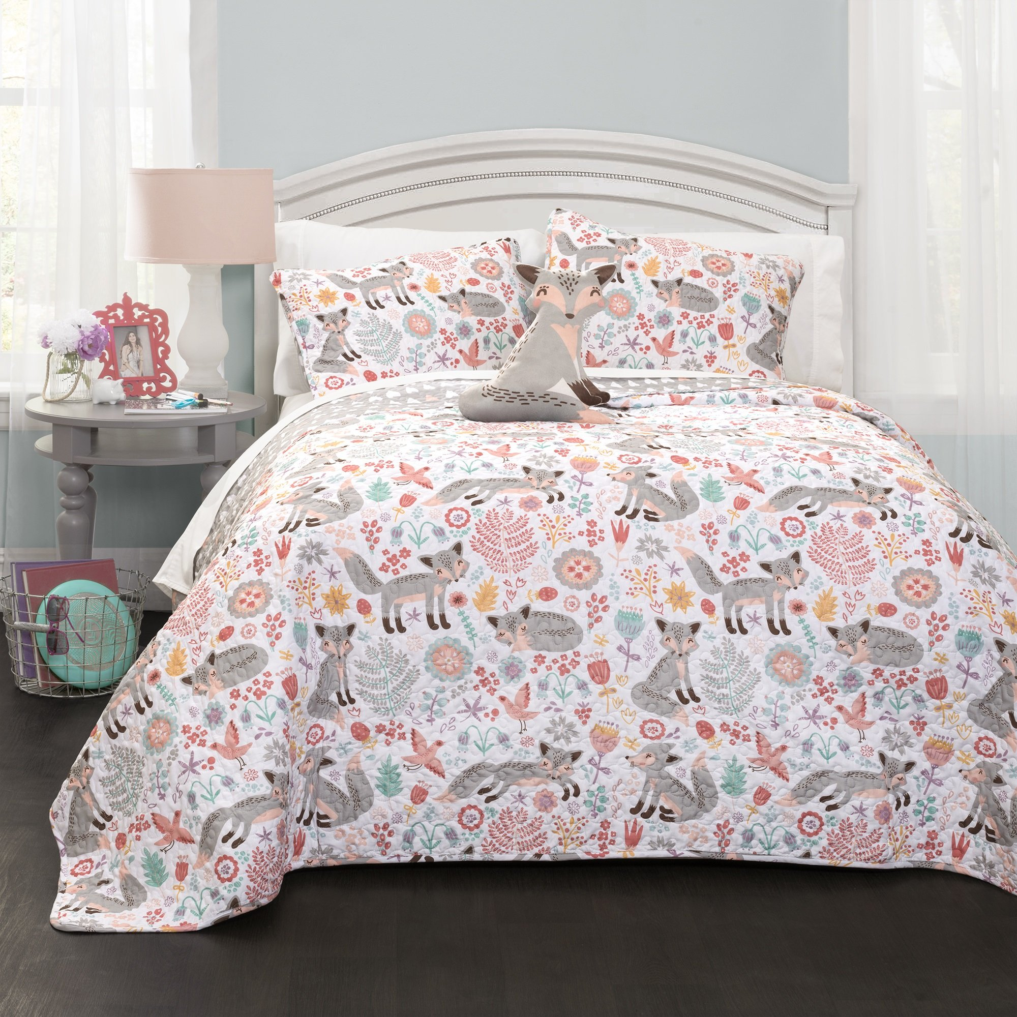 4 Piece Playful Pixie Fox Patterned Reversible Quilt Set Full/Queen Size, Bright Wild Jungle Foxes Birds Forest Leafs Printed Blossoming Flowers Bedding, Artistic Animal Lover Bedroom, Grey, Pink