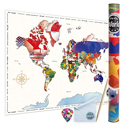 Amazon scratch off world travel map poster large size scratch off world travel map poster large size colorful travel map poster detailed cartography gumiabroncs Gallery