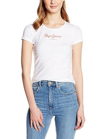 9942bf36fe23f Pepe Jeans Virginia - T-shirt - Uni - Manches courtes - Femme  Amazon.fr   Vêtements et accessoires