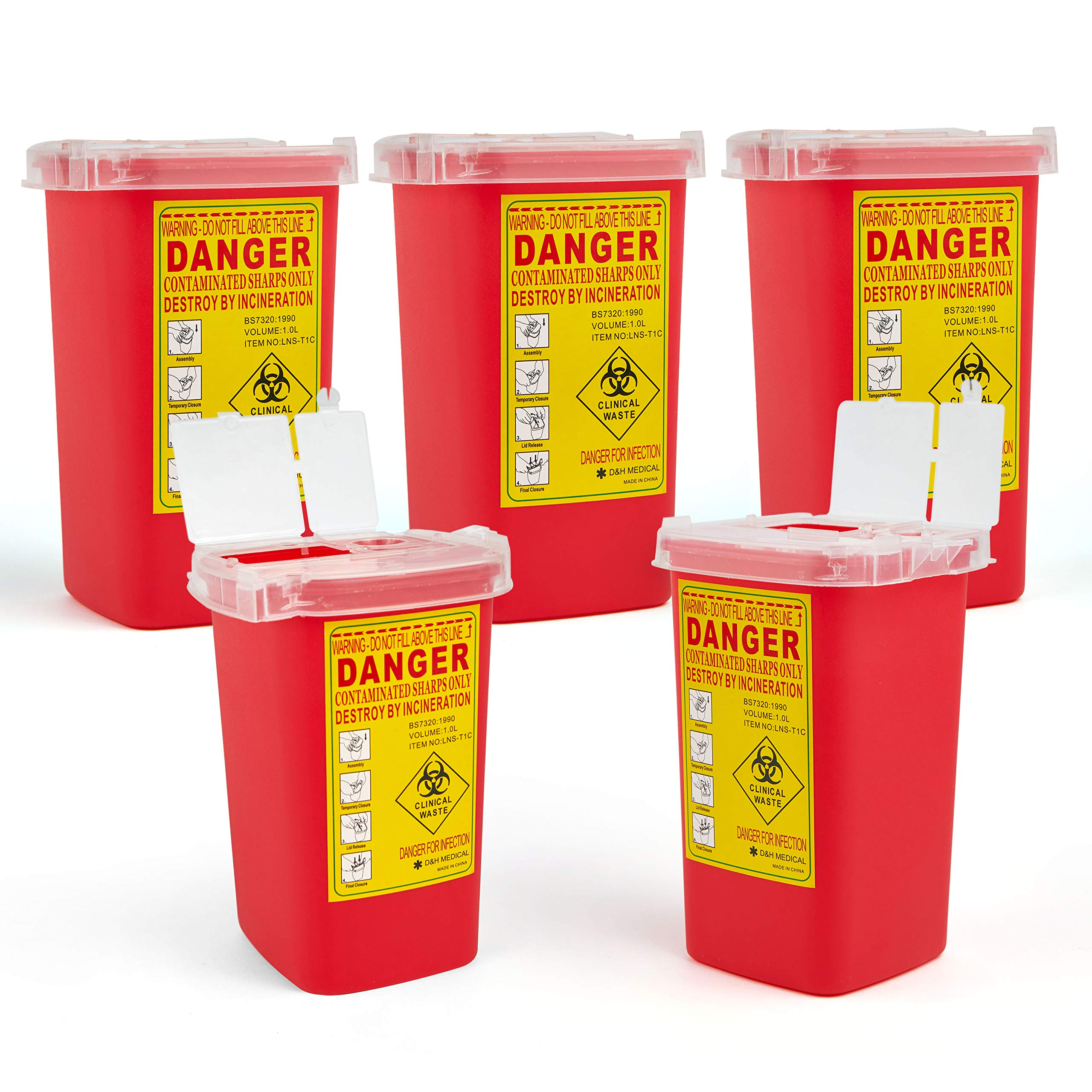 D & H Medical Sharps Disposal Container: 5-Pack Biohazard Needle Container 1-Quart Size| FDA-Approved, Safe Lock Containers for Disposal of Syringes, Blades & Lancets| Top Tattoo Supplies Disposal Kit