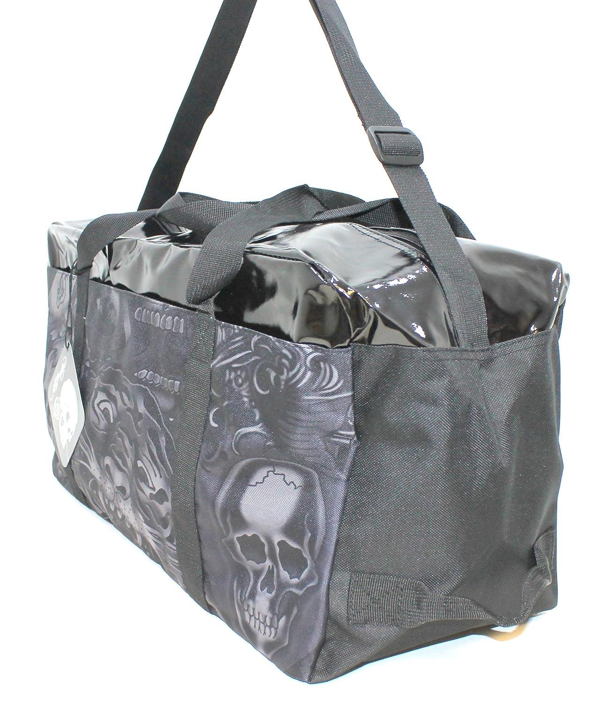 3e59976247 ED HARDY BLACK SHINY TOP OVERNIGHT  WEEKEND BAG   WITH ADJUSTABLE STRAP    NEW  Amazon.co.uk  Luggage