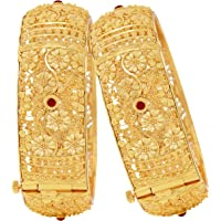 Mansiyaorange Screw Openable Two Traditional Fancy Designer Casual Party One Gram Polish Golden Color Bangles for Women