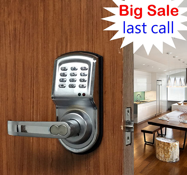 Digi Smart Security Electronic Keyless Keypad Door Lock Knob Home Use Entry 6600-88 Silver