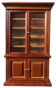 Inusitus Miniature Dollhouse Display Cabinet - Dolls House Mini Furniture Glass Bookcase - 1/12 Scale (Medium Brown)