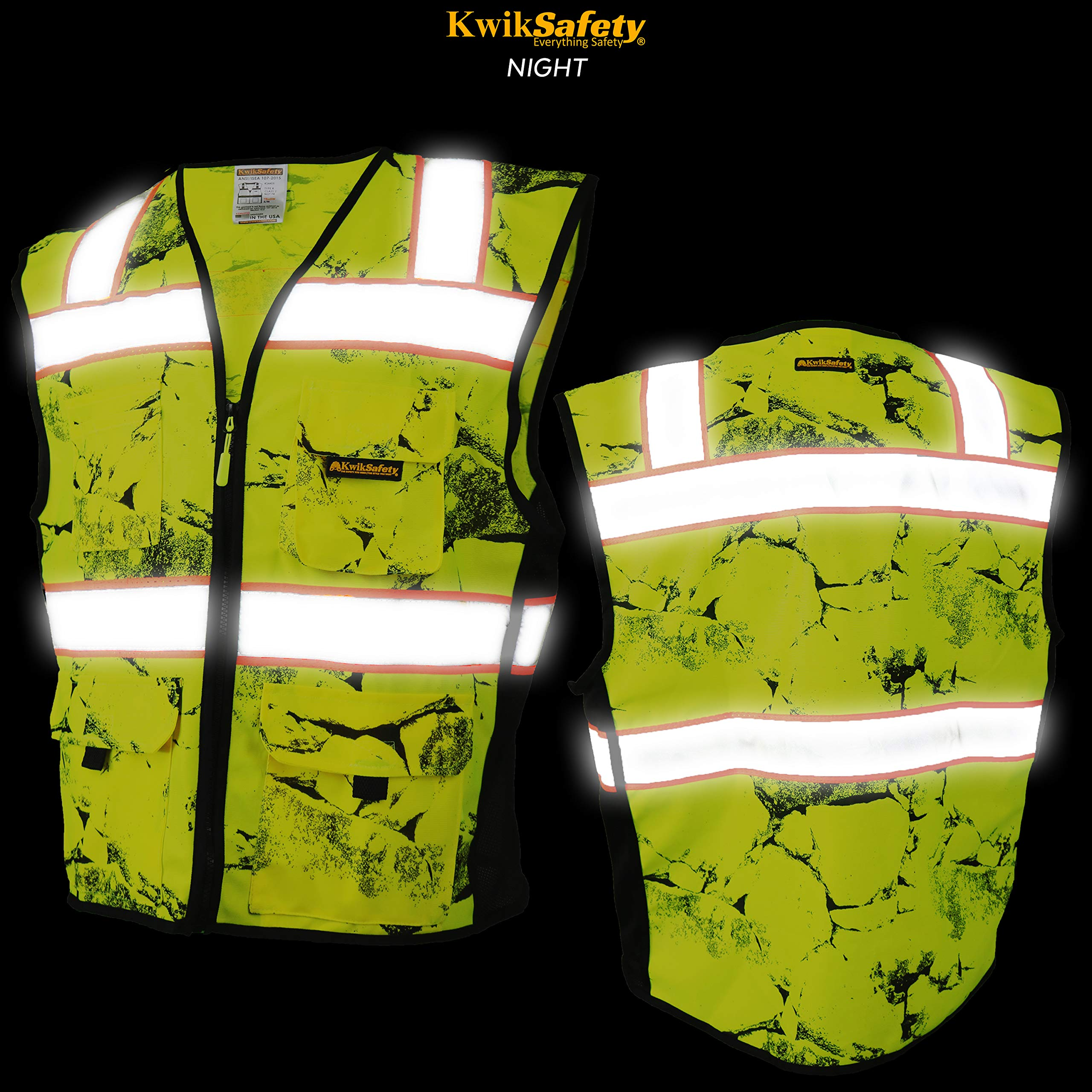 KwikSafety (Charlotte, NC) UNCLE WILLY'S WALL (10 Pockets) Class 2 ANSI High Visibility Reflective Safety Vest Heavy Duty Mesh with Zipper and HiVis for Construction Work HiViz Men Yellow Black L/XL by KwikSafety (Image #3)