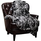 "Chanasya Super Soft Fuzzy Fur Faux Fur Cozy Warm Fluffy Beautiful Color Variation Print Plush Sherpa Dark Gray Fur Throw Blanket (60"" x70"") -Charcoal Gray Waivy Fur Pattern"
